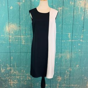 The Limited Color Block Black Cream Pleated Dress